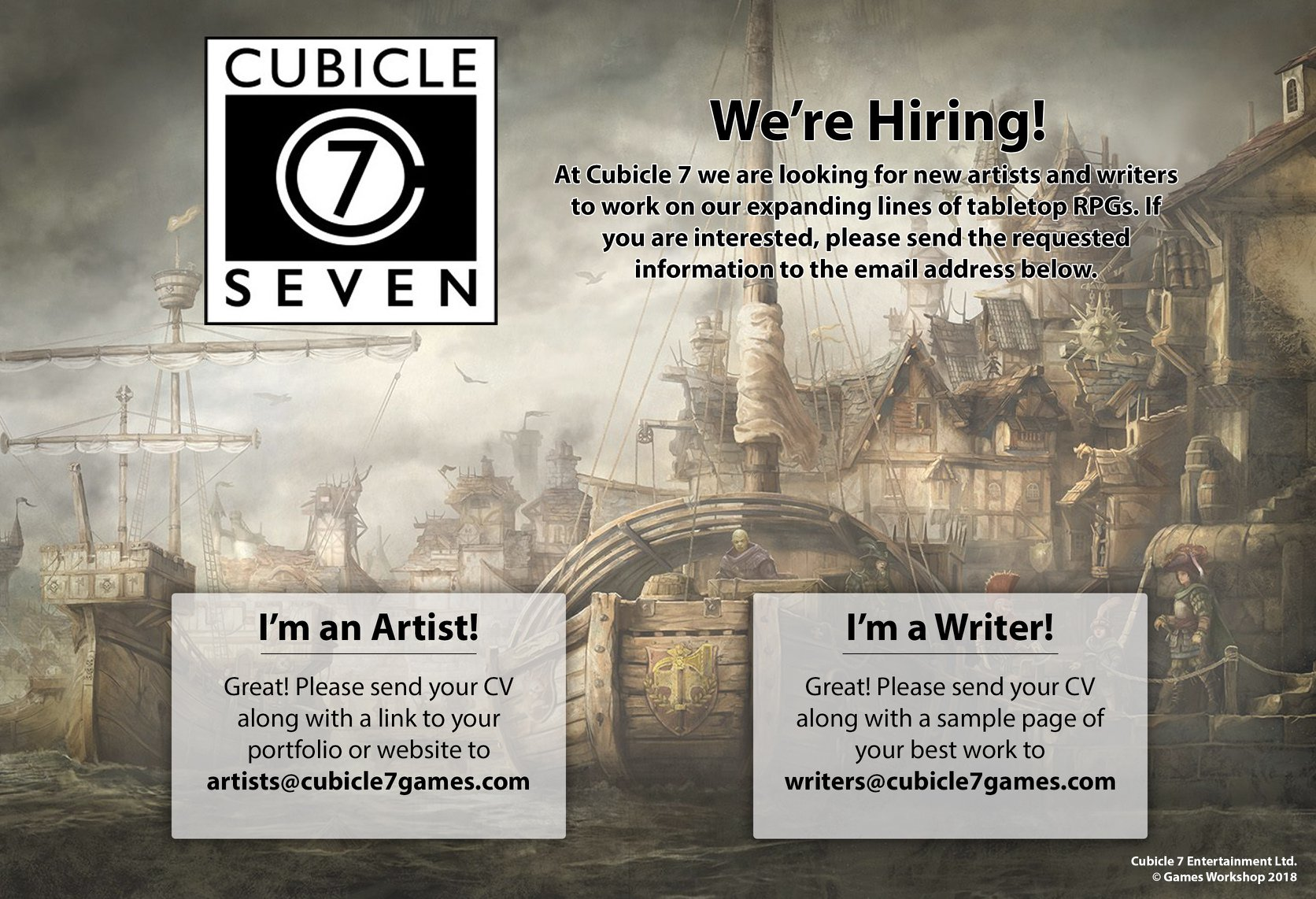 British tabletop games company Cubicle 7 is looking for new
